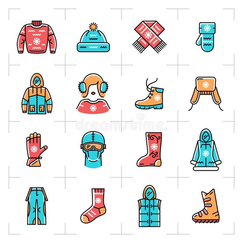 O vetor da roupa do inverno isolou a linha ícones ajustados, esporte, sportswear do esboço ilustração royalty free