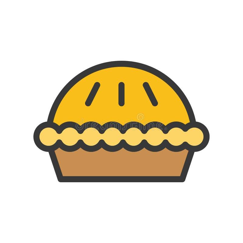 O vetor da torta, Chirstmas relacionou o ícone editável enchido do esboço do ícone do estilo ilustração stock