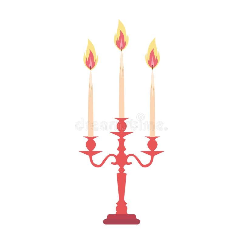 O vetor da vela do candelabro do castiçal dos candelabros isolou a silhueta antiga da ilustração do suporte do vintage ilustração royalty free