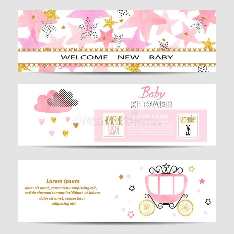 O vetor das bandeiras da menina da festa do bebê ajustou-se em cores cor-de-rosa e douradas ilustração do vetor