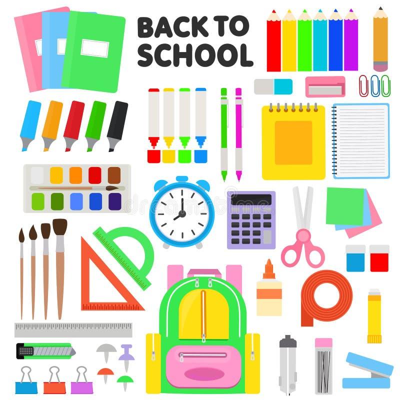 O vetor das fontes de escola que educa ferramentas encerra a ilustração colorida das tesouras dos marcadores dos lápis e dos aces ilustração do vetor