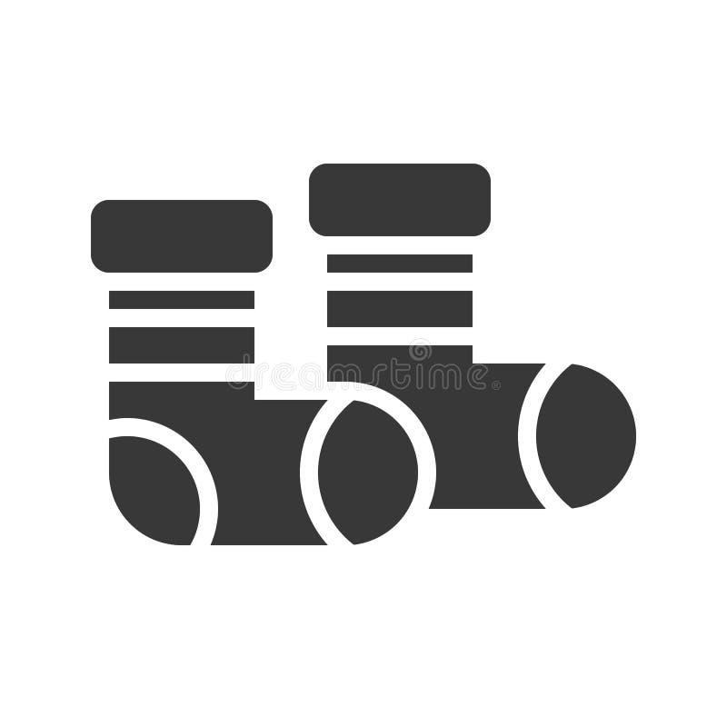O vetor das peúgas, Chirstmas relacionou o ícone contínuo do estilo ilustração stock