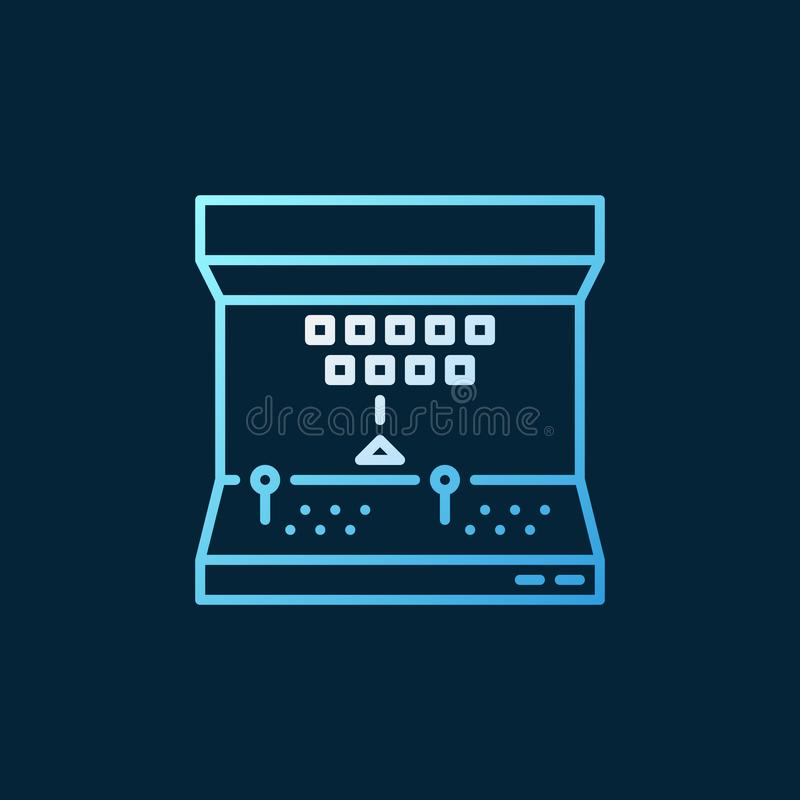 O vetor de Arcade Machine coloriu o ícone ou assina-o na linha estilo fina ilustração royalty free