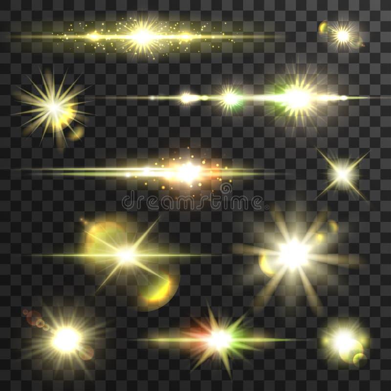 O vetor de brilho dos raios claros da estrela ajustou-se com tarifa da lente ilustração stock