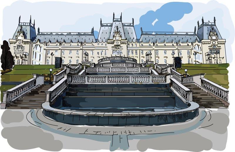 O vetor de Digitas pintou o palácio da cultura em Iasi ilustração stock