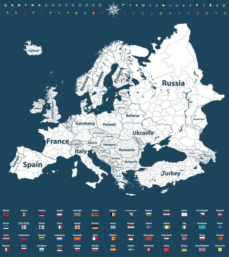 O vetor de Europa detalhou altamente o mapa político com beiras das regiões e todas as bandeiras do europeu ilustração royalty free