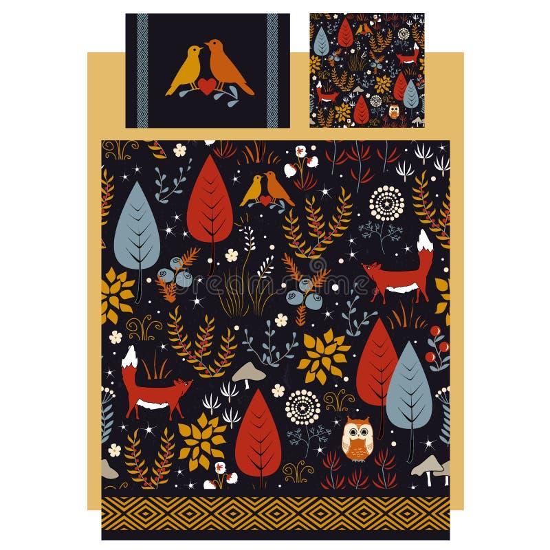O vetor de linho e de fundamento projeta com outono bonito ilustração royalty free
