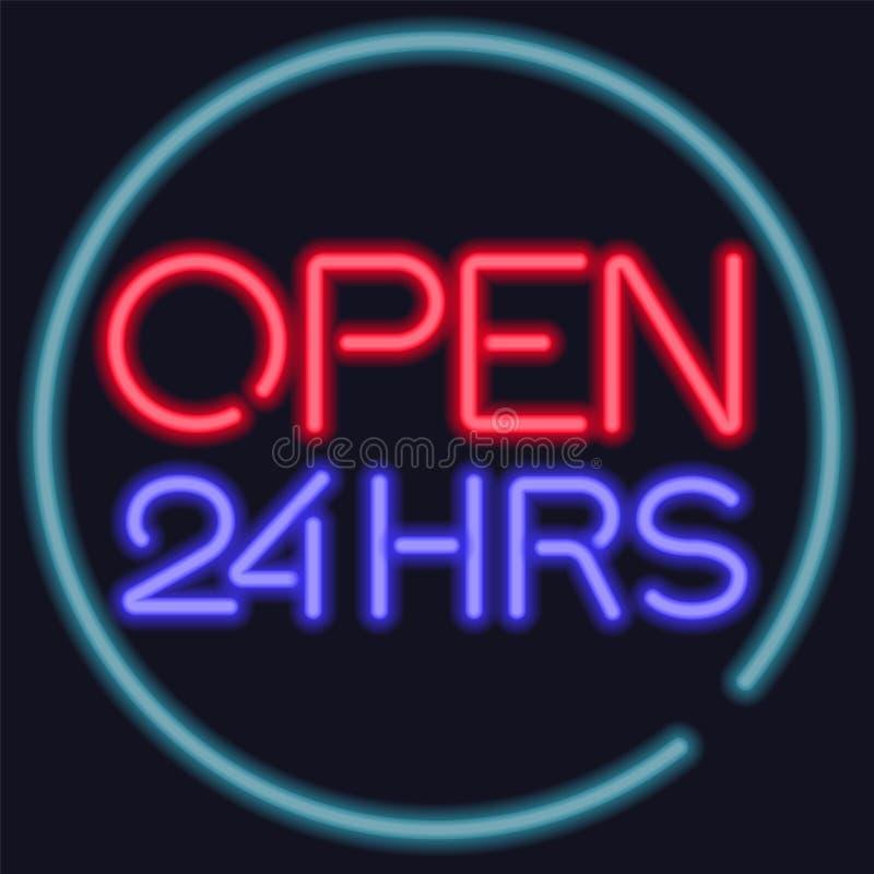 O vetor de néon abre 24 horas de sinal da entrada ilustração do vetor