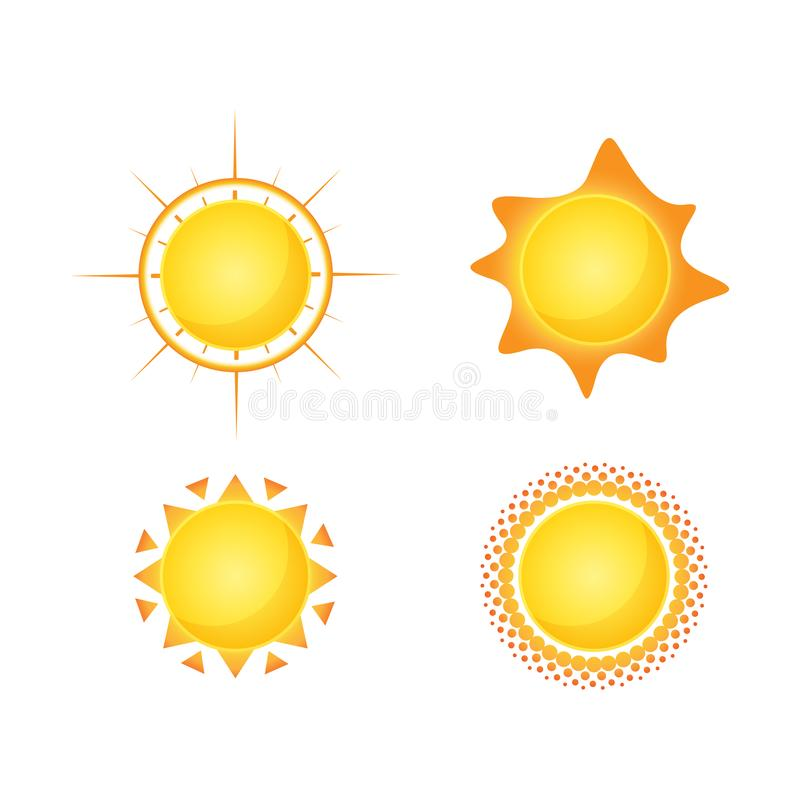 O vetor de Sun isolou o projeto do ?cone do ver?o S?mbolo amarelo do sol do vetor ilustração stock