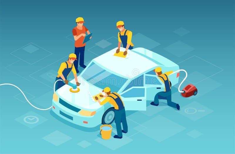 O vetor de trabalhadores de uma equipe realiza uma lavagem de carros complexa ilustração stock
