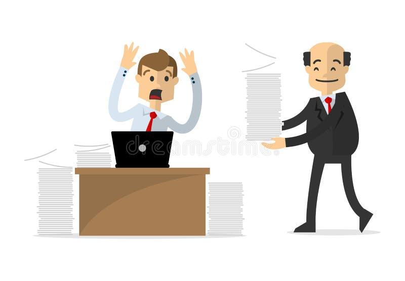 O vetor de um homem de negócios ou o empregado obtêm o trabalho extra ilustração do vetor