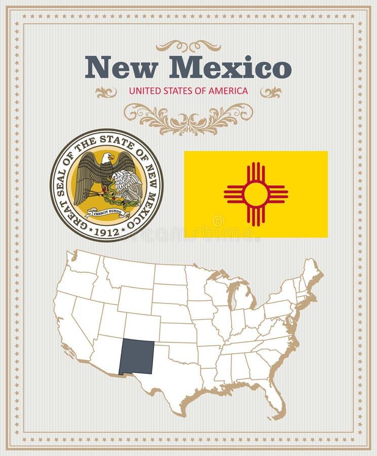 O vetor detalhado alto ajustou-se com bandeira, brasão New mexico Cartaz americano ano novo feliz 2007 ilustração royalty free