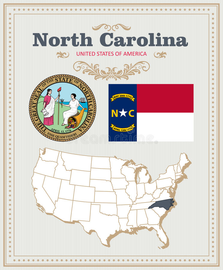 O vetor detalhado alto ajustou-se com bandeira, brasão North Carolina Cartaz americano ano novo feliz 2007 ilustração stock