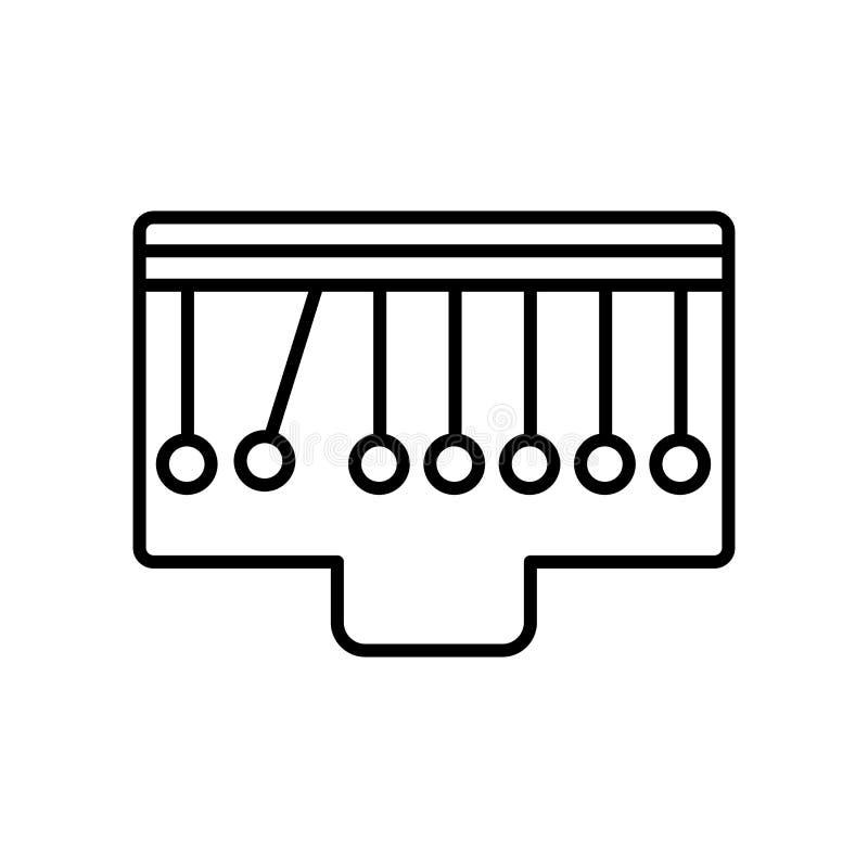 O vetor do ícone do berço dos newtons isolado no fundo branco, newtons embala o sinal, o sinal e os símbolos no estilo linear fin ilustração do vetor