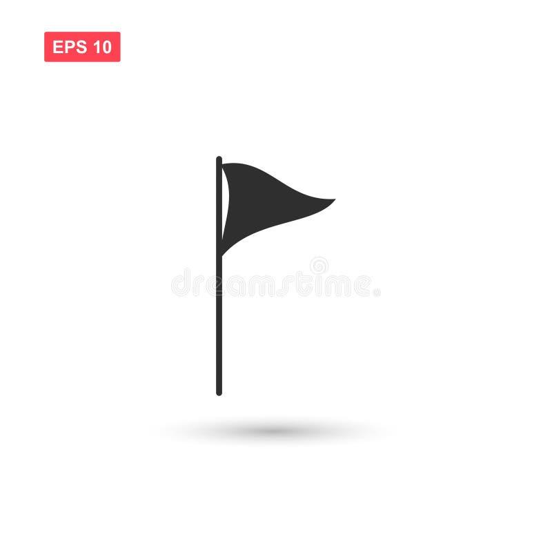O vetor do ícone da bandeira do golfe isolou 5 ilustração stock