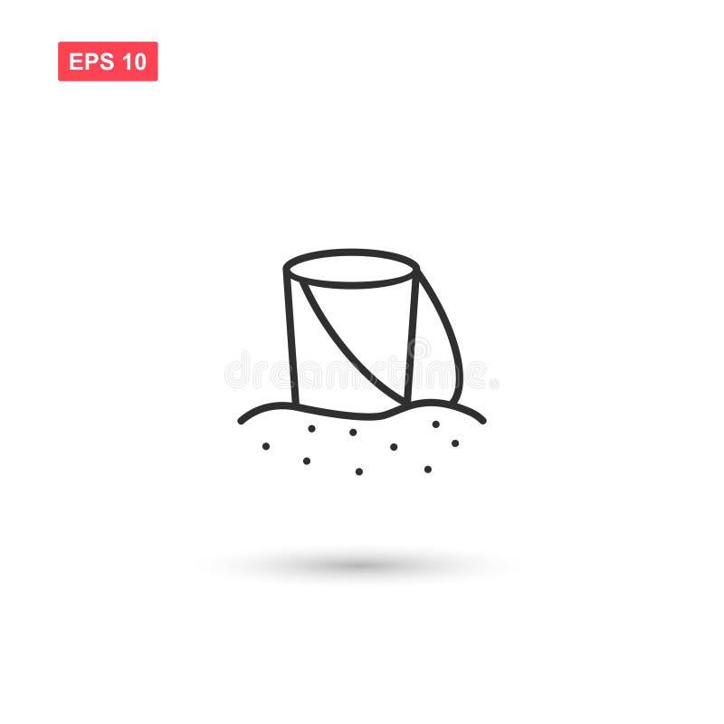 O vetor do ícone da cubeta da areia isolou 9 ilustração royalty free