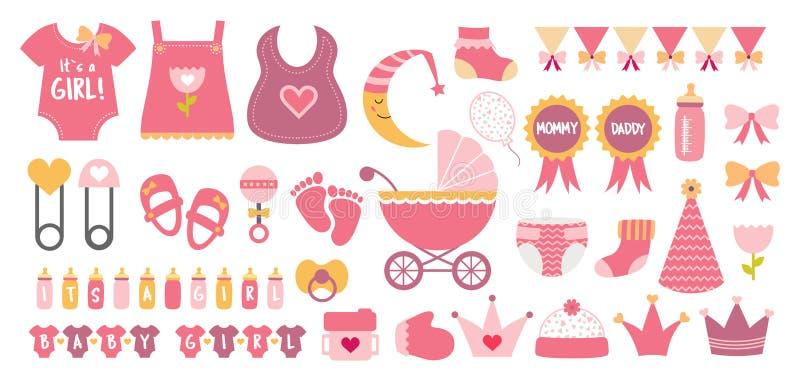O vetor do ícone da festa do bebê ajustou cores cor-de-rosa pasteis ilustração stock