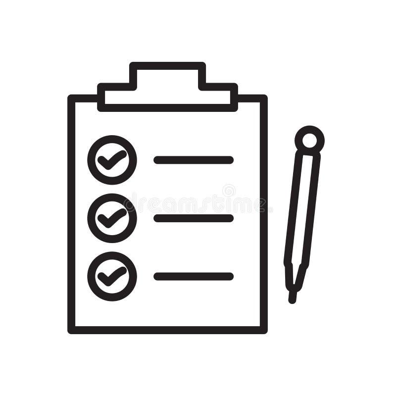 O vetor do ícone da lista de verificação isolado no fundo branco, verifica o sinal da lista ilustração stock