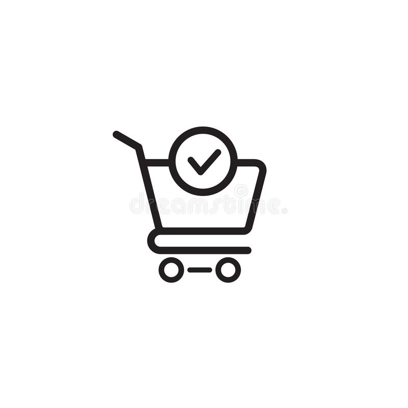 O vetor do ícone da marca do carrinho de compras e de verificação terminou a ordem, confirma a ilustração lisa do logotipo dos sí ilustração stock