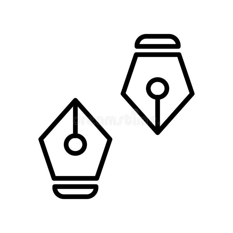 O vetor do ícone da pena isolado no fundo branco, encerra elementos do sinal, da linha e do esboço no estilo linear ilustração do vetor