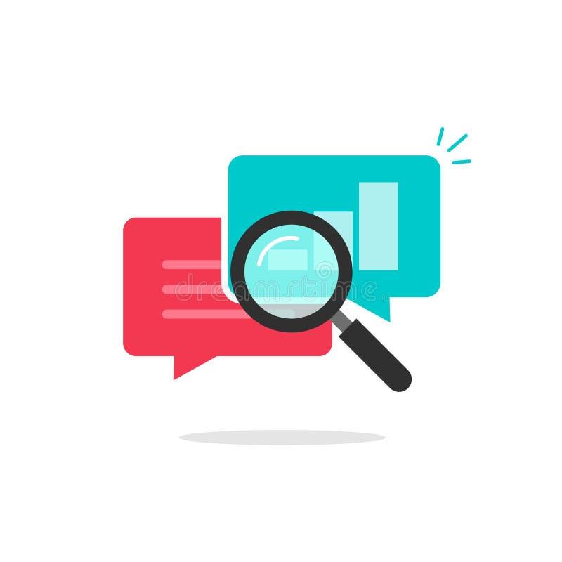 O vetor do ícone da pesquisa das estatísticas, dados da análise, analisando a informação do bate-papo, explora ilustração stock