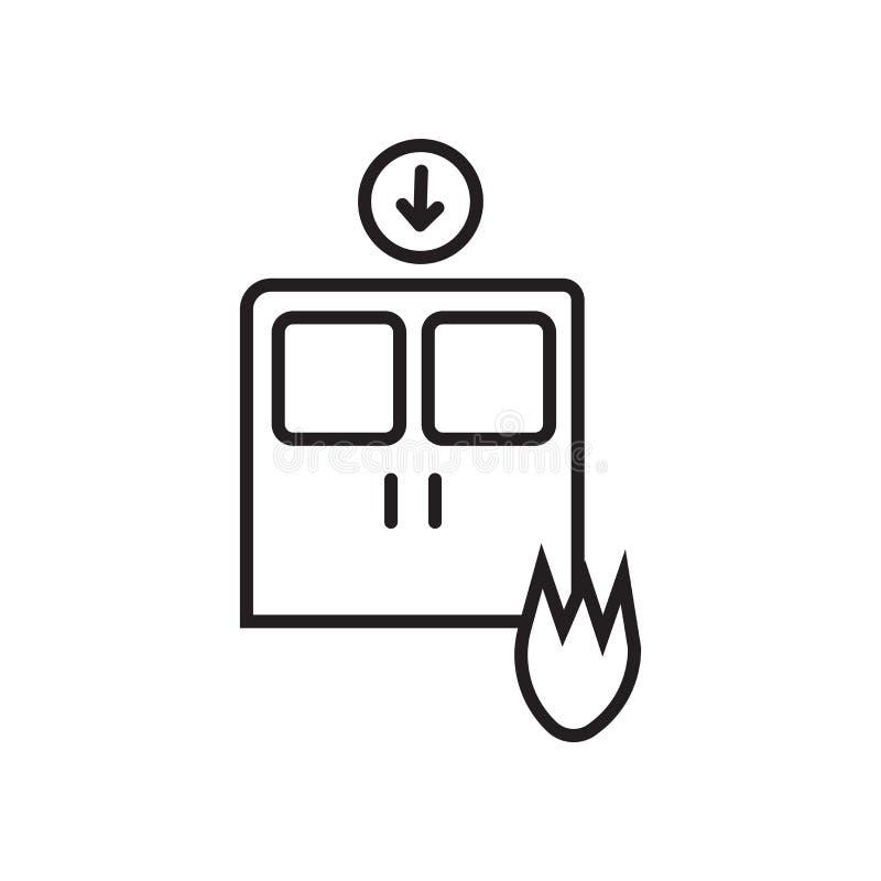 O vetor do ícone da saída isolado no fundo branco, retira o sinal, o sinal e os símbolos no estilo linear fino do esboço ilustração stock