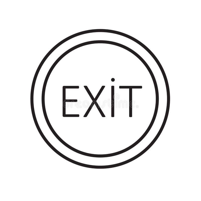 O vetor do ícone da saída isolado no fundo branco, retira o sinal, o sinal e os símbolos no estilo linear fino do esboço ilustração royalty free