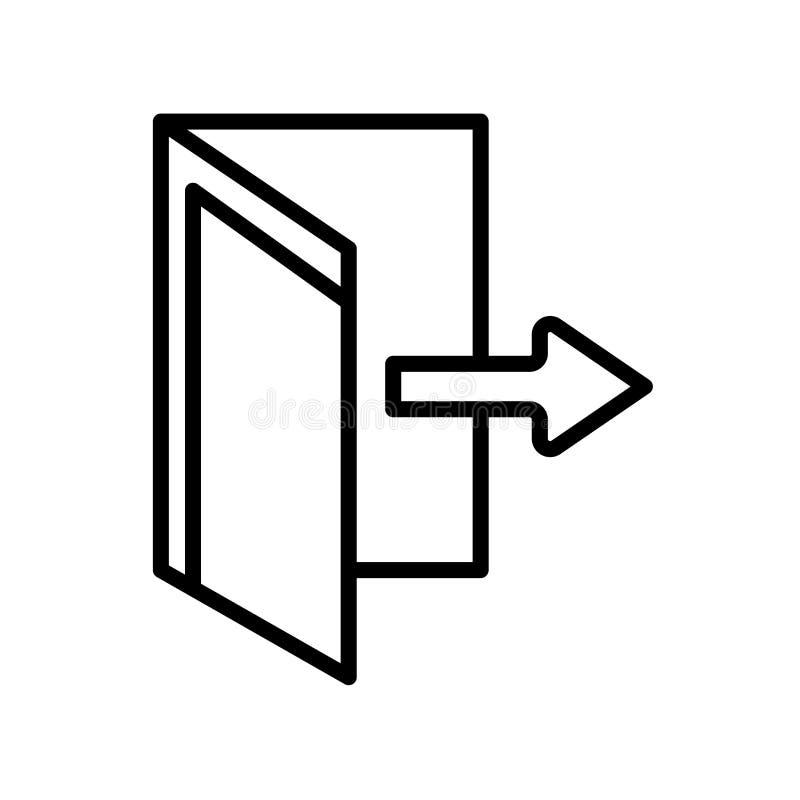 O vetor do ícone da saída isolado no fundo branco, retira o sinal, linha ilustração stock