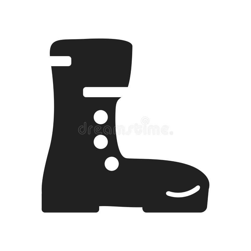 O vetor do ícone das botas isolado no fundo branco, botas assina, distante ilustração stock