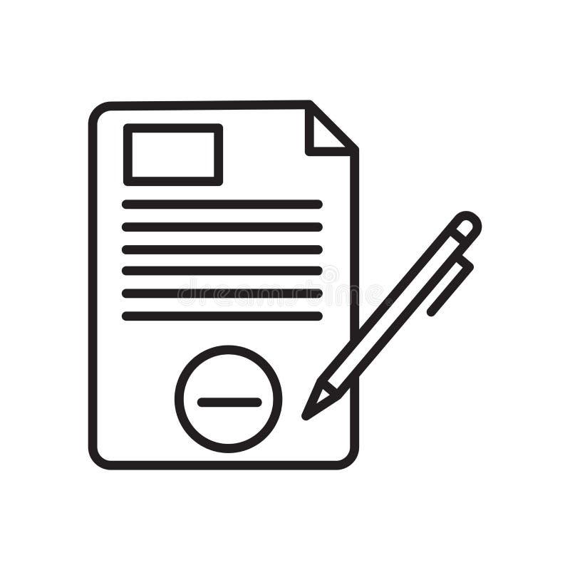 O vetor do ícone dos arquivos isolado no fundo branco, arquivos assina, sinal e símbolos no estilo linear fino do esboço ilustração stock