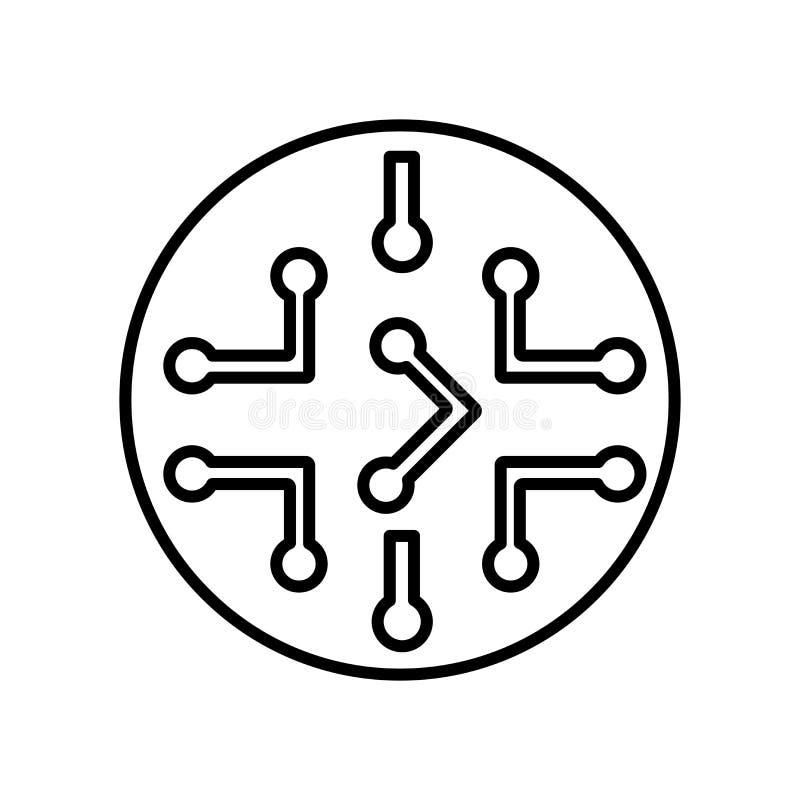 O vetor do ícone dos circuitos isolado no fundo branco, circuita o sinal, o sinal e os símbolos no estilo linear fino do esboço ilustração do vetor