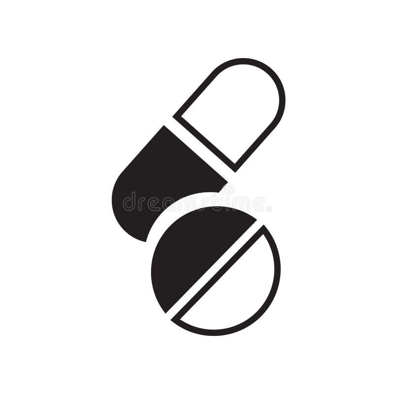 O vetor do ícone dos comprimidos isolado no fundo branco, comprimidos assina, símbolos médicos da saúde ilustração stock