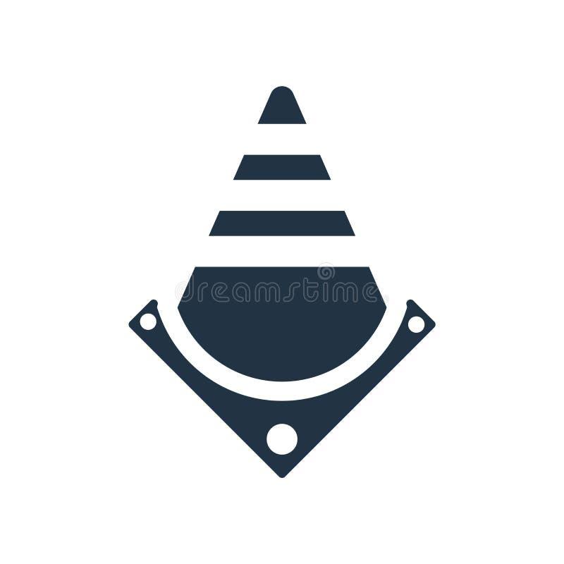 O vetor do ícone dos cones do tráfego isolado no fundo branco, cones do tráfego assina ilustração do vetor