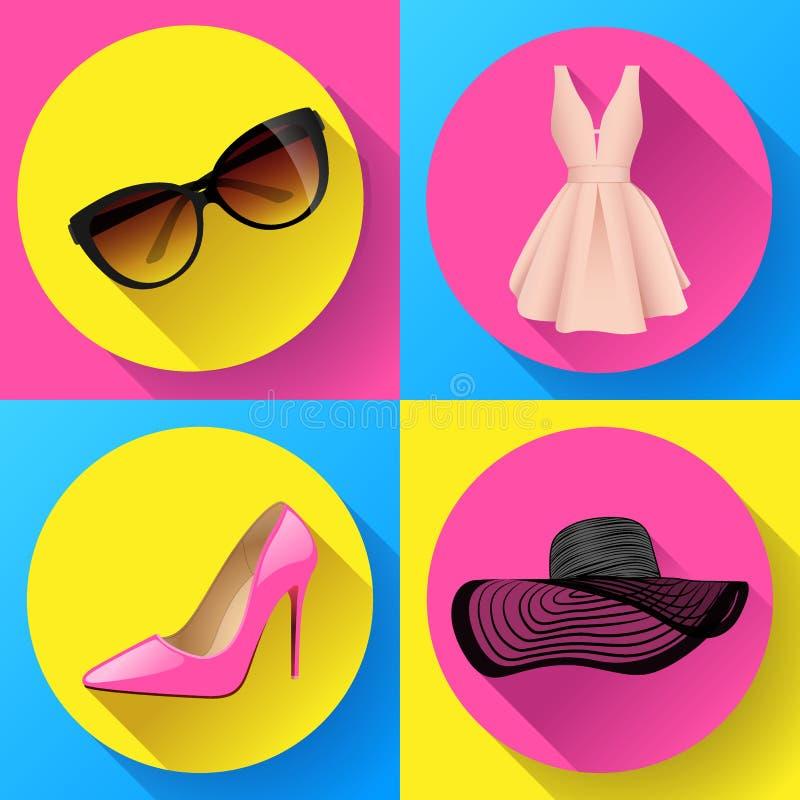 O vetor do ícone do vestido da forma da mulher ajustou - óculos de sol, as sapatas das mulheres, chapéu do verão ilustração do vetor