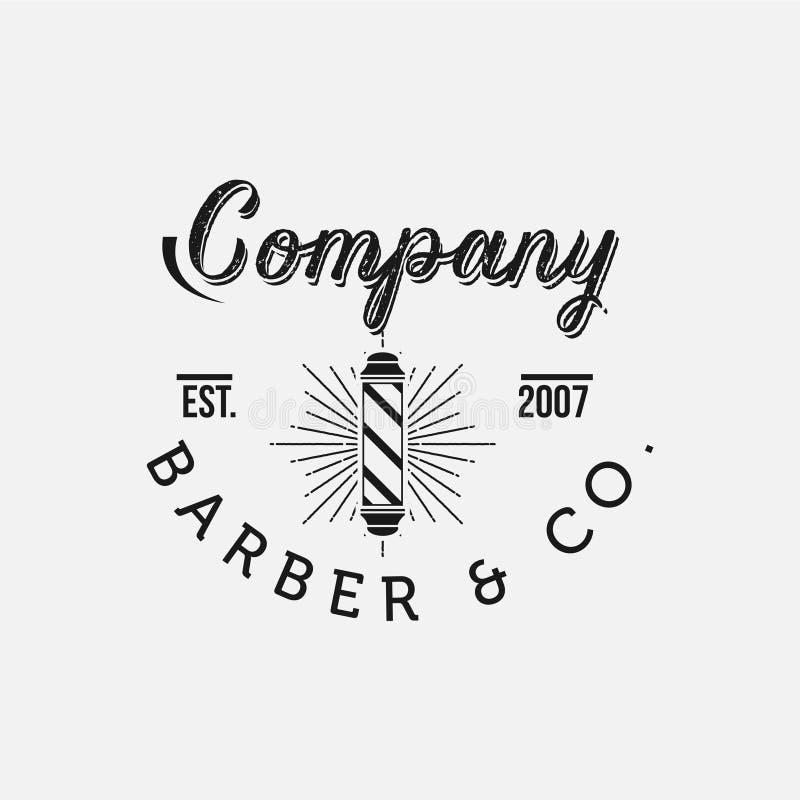 O vetor do barbeiro do vintage simboliza e etiquetas Crachás e logotipos do barbeiro ilustração stock