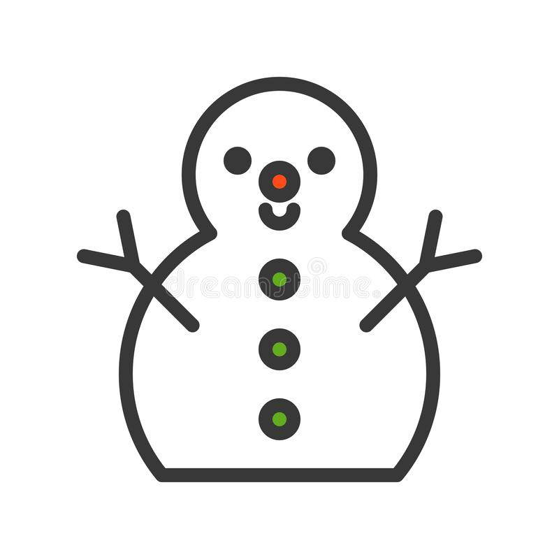 O vetor do boneco de neve, Natal relacionou o ícone do projeto do estilo, OU editável ilustração royalty free