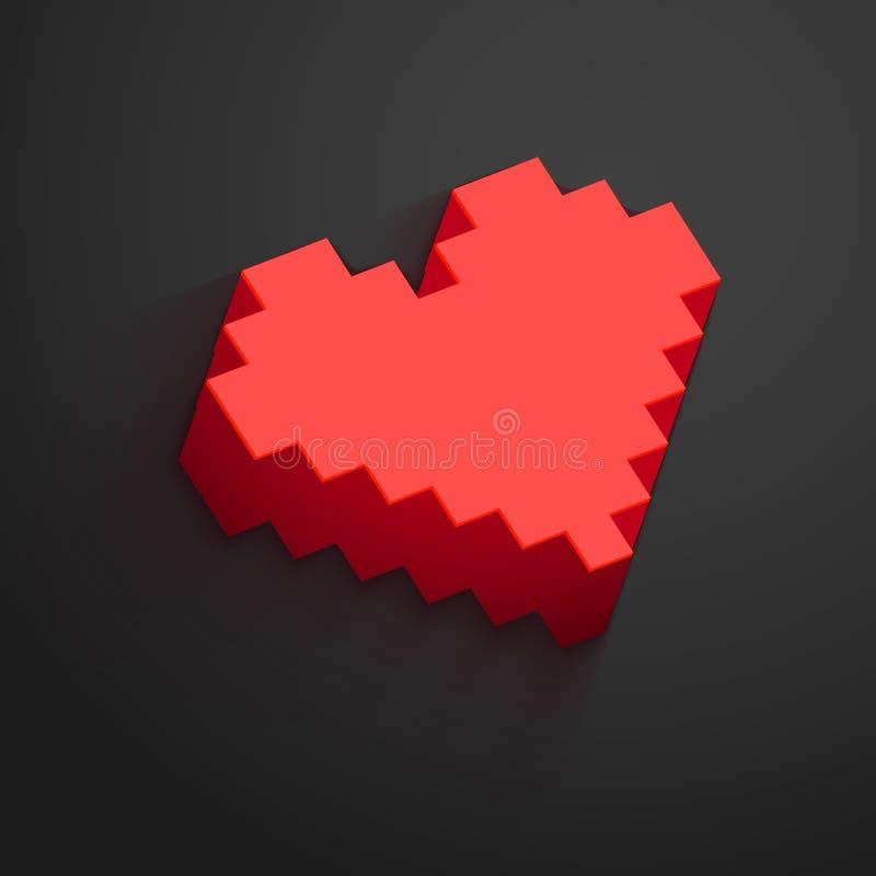 O vetor do botão do coração do pixel para o dia de Valentim projeta Datar em linha, relacionamento distante e conceito do amor ilustração do vetor