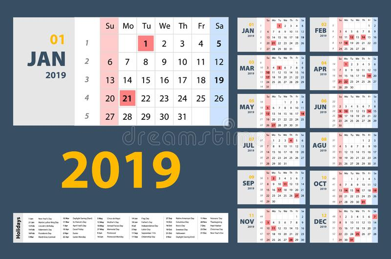 O vetor do calendário do ano 2019 novo no planejador de evento simples do feriado do estilo da tabela mínima limpa, semana começa ilustração stock