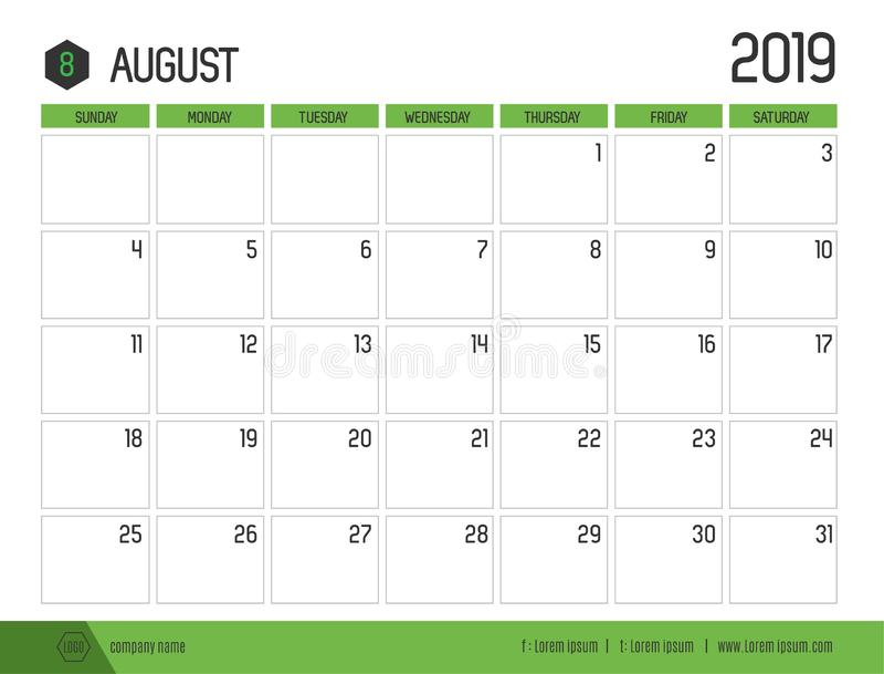 O vetor do calendário verde moderno 2019 agosto em simples limpa ilustração stock