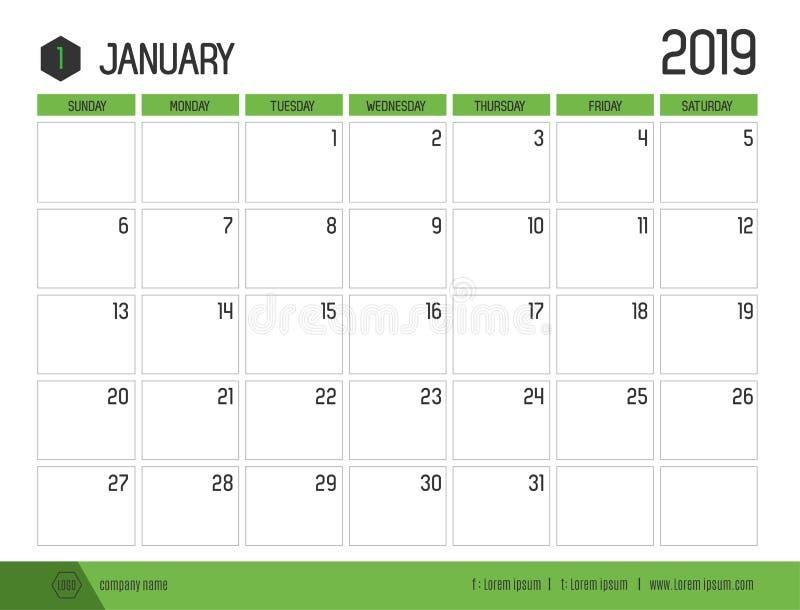 O vetor do calendário verde moderno 2019 janeiro em simples limpa ilustração stock