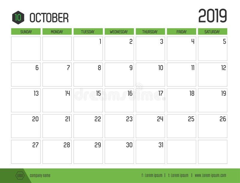 O vetor do calendário verde moderno 2019 outubro em simples limpa ilustração do vetor