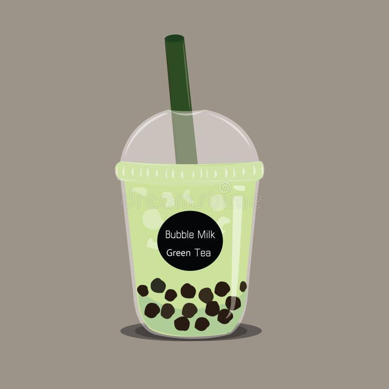 O vetor do chá do leite do verde do matcha da bolha ilustração royalty free