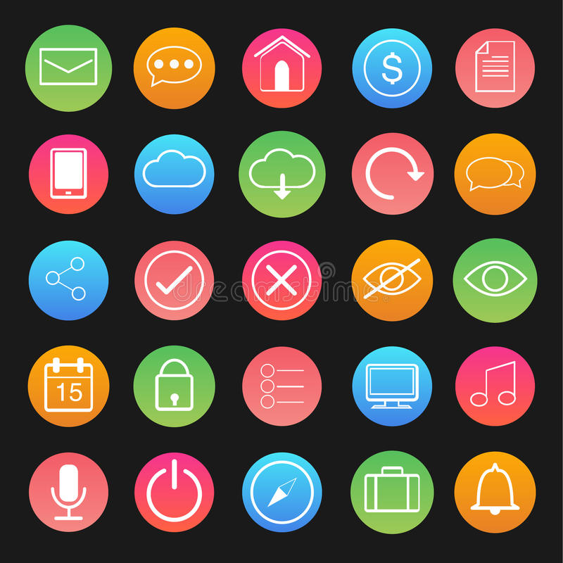 O vetor do computador e do ícone da aplicação ajustou-se na linha branca ilustração royalty free