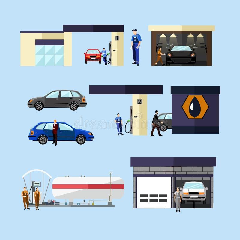 O vetor do conceito do posto de gasolina, da lavagem de carros e da oficina de reparações isolou objetos, ícones ilustração stock