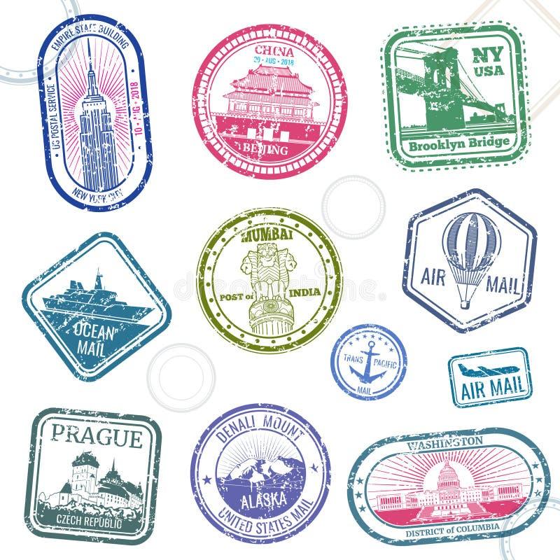O vetor do curso do passaporte do vintage carimba com símbolos internacionais e marca registrada famosa ilustração royalty free