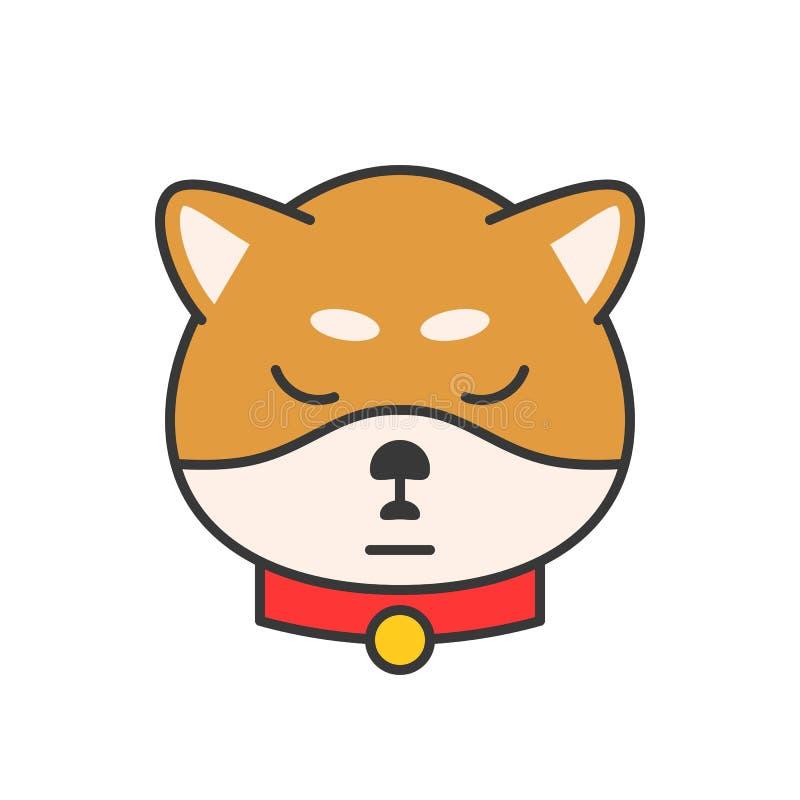 O vetor do emoticon do inu de Shiba, encheu o projeto do esboço ilustração royalty free