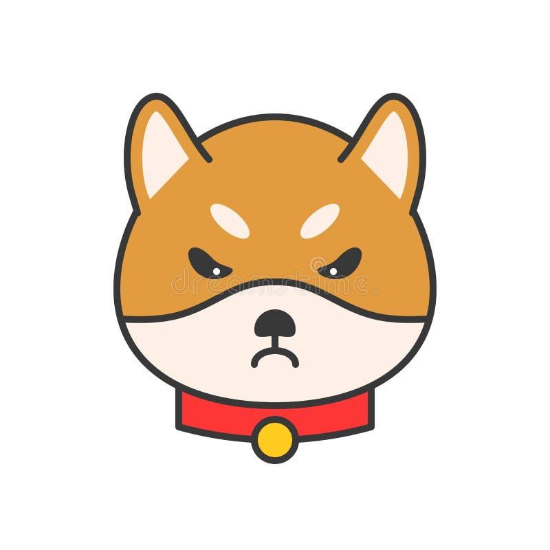 O vetor do emoticon do inu de Shiba, encheu o projeto do esboço ilustração do vetor