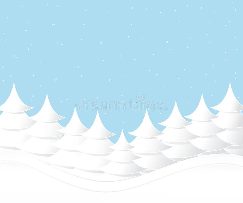 O vetor do fundo da árvore e da queda de neve de Natal projeta para o dia de Natal ilustração stock
