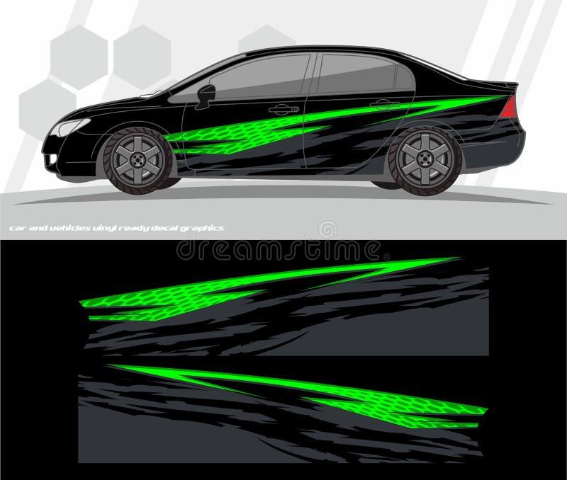 O vetor do jogo dos gráficos do decalque do carro e do envoltório dos veículos projeta apronte para imprimir e cortar para etique ilustração royalty free