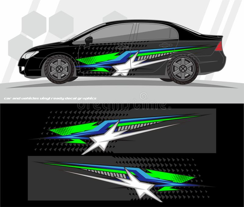 O vetor do jogo dos gráficos do decalque do carro e do envoltório dos veículos projeta apronte para imprimir e cortar para etique ilustração stock